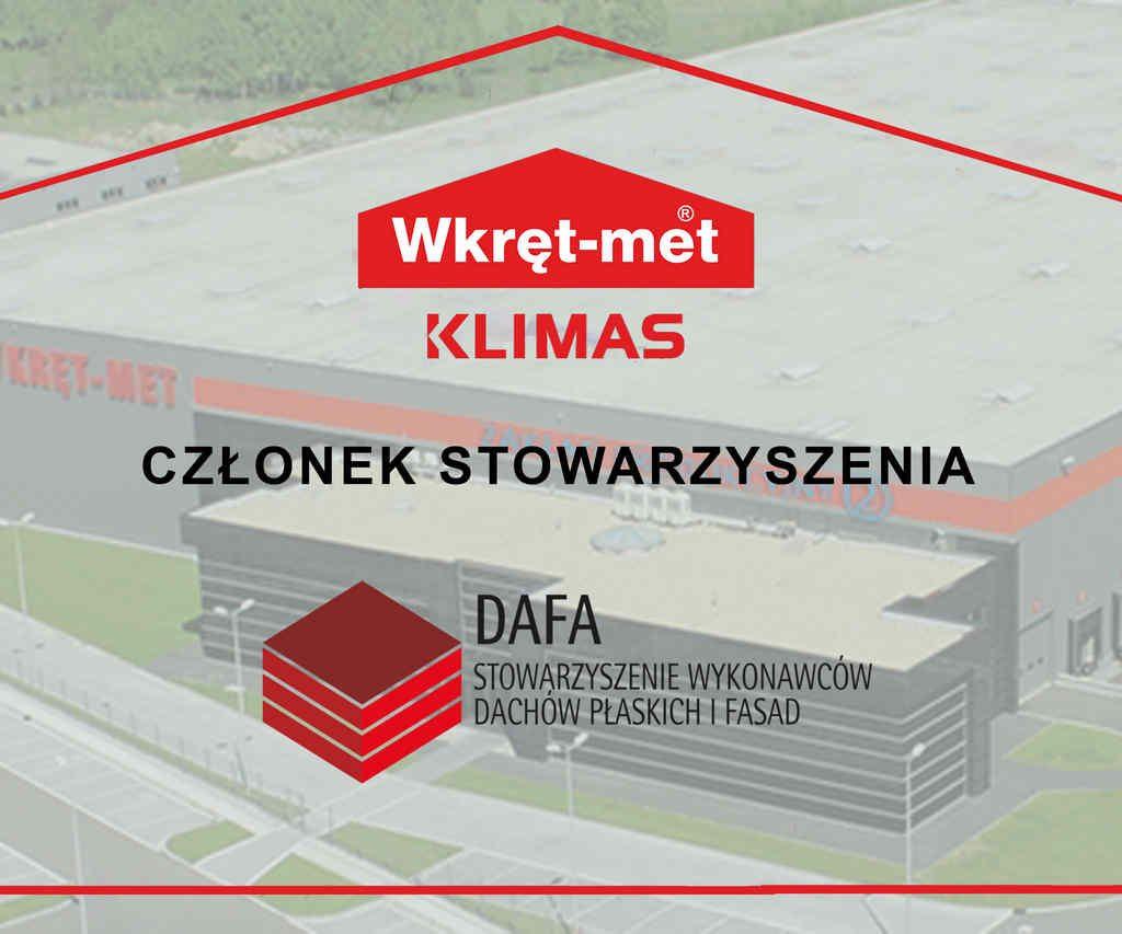 KLIMAS WKRET-MET z Certyfikatem Stowarzyszenia Wykonawców Dachów Płaskich i Fasad DAFA